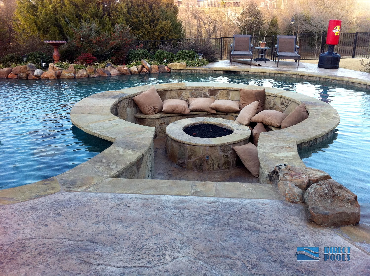 Backyard With Pool And Firepit : Custom Feature and Inground Swimming Pools and SPAs by Direct Pools
